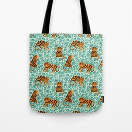 Tigers and Leaves Print Tote Bag