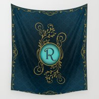 monogram Wall Tapestries featuring Monogram R by Britta Glodde
