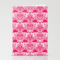damask Stationery Cards featuring Flamingo Damask by Jacqueline Maldonado