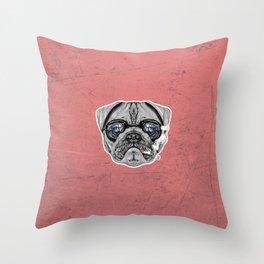 Intelectual Pug Throw Pillow