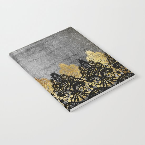 Pure elegance II - Luxury Gold and black lace on grunge dark backround Notebook