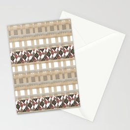 Boho . Beige woven textiles . Stationery Cards