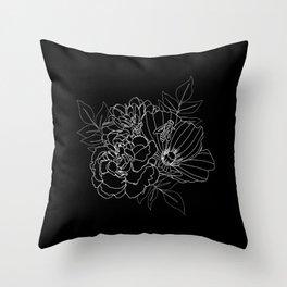 Floral Arrangement - White on Black Throw Pillow