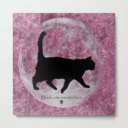 Black Cats Wander Here Metal Print