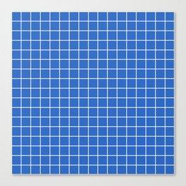 True Blue - blue color - White Lines Grid Pattern Canvas Print