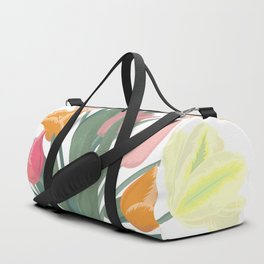 Bouquet of tulips in glass vase Duffle Bag