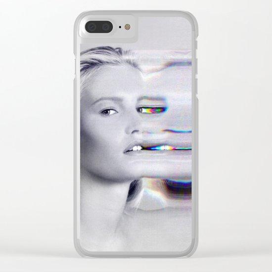 Glitch Face Melt Clear iPhone Case