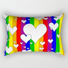 Gay flag with the colors of the rainbow with hearts Rectangular Pillow