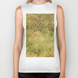 Red poppies at the fields Biker Tank