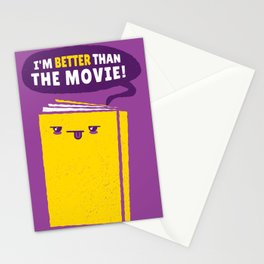 Funny Book Humour I'm Better Than The Movie Quote Cute Design In Purple & Yellow Stationery Cards
