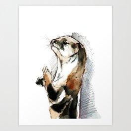 Amblonyx cinereus otter Art Print
