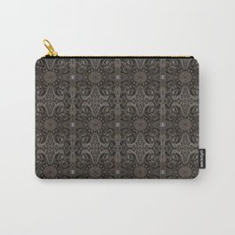 Curves & lotuses, abstract floral pattern, charcoal black, dark brown and taupe Carry-All Pouch