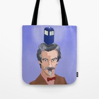 dr who Tote Bags featuring Dr Who  by Kervin