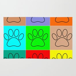 Puppy Paws In Squares Rug