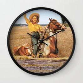 Vintage Western Cowgirl On Horse In Hay Field Wall Clock