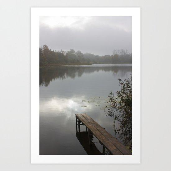 Mist on lake Art Print