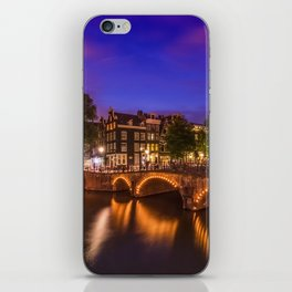 AMSTERDAM Idyllic nightscape from Keizersgracht and Leliegracht iPhone Skin