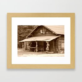 Old Log Cabin Framed Art Print