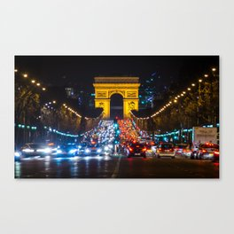 The Champs-Elysees leading up to the Arc de Triomphe, Paris Canvas Print