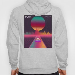 Retro 80s Cyberpunk Synthwave Sunset fast car in Outrun grid design Hoody