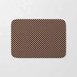 Black and Peach Cobbler Polka Dots Bath Mat