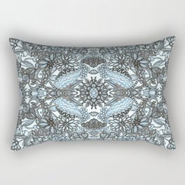 CLASSIC GEOMETRY PATTERN, FLORAL - in blue & white Rectangular Pillow