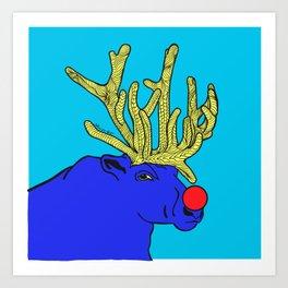 Rudolph The Red Nose Raindeer Art Print