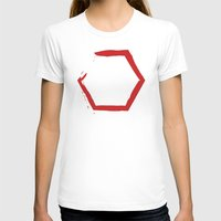 hexagon T-shirts featuring Red Hexagon by C Designz