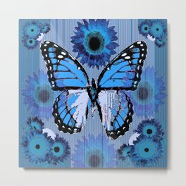 SHABBY CHIC CERULEAN BLUE BUTTERFLY FLORAL ART Metal Print