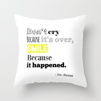 dr seuss Throw Pillows featuring Dr Seuss by Laura Maria Designs