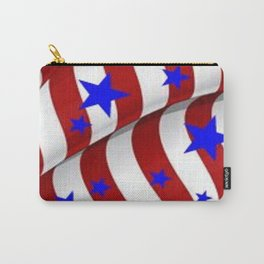 PATRIOTIC AMERICANA JULY 4TH BLUE STARS DECORATIVE ART Carry-All Pouch