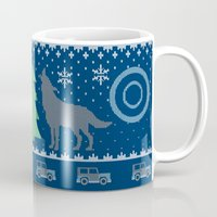teen wolf Mugs featuring Teen Wolf Holiday Sweater by maichan
