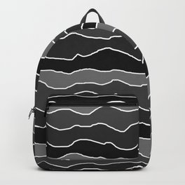 Four Shades of Black with White Squiggly Lines Backpack
