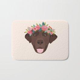 Chocolate Lab floral crown dog breed pet art labrador retrievers dog lovers giftsChocolate Lab flora Bath Mat