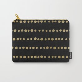 Boho Mudcloth Dots Pattern, Black and Gold Carry-All Pouch