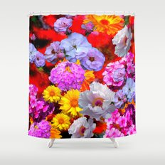 PINK-YELLOW-WHITE FLOWERS ON RED Shower Curtain