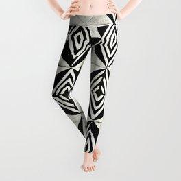 Tribal Shibori Stars Black and Cream Leggings
