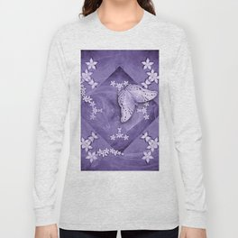 Flowers and butterfly with swirling fractal Long Sleeve T-shirt