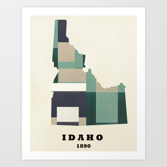 idaho state map modern  Art Print