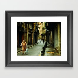 Barcelona Old Lady Framed Art Print