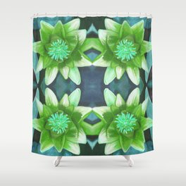Teal Green Bromeliad Pattern Shower Curtain
