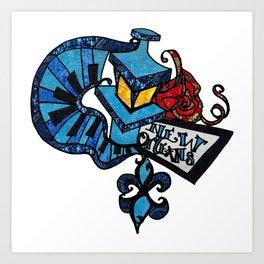 Blue Vibes Lamp post and Piano keys Art Print