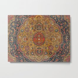 Persian Medallion Rug VI // 16th Century Distressed Red Green Blue Flowery Colorful Ornate Pattern Metal Print