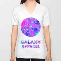 fractal V-neck T-shirts featuring FRACTAL by GALAXY APPAREL