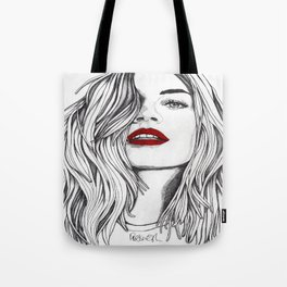 Girl with the Red Lips Tote Bag