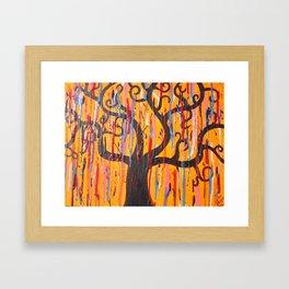 Orange Drip Tree Framed Art Print