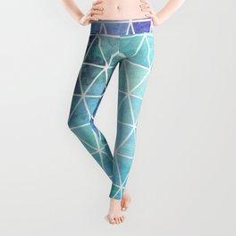 Blue Grungy Geometric Triangle Design Leggings