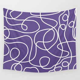 Doodle Line Art | White Lines on Ultra Violet Background Wall Tapestry
