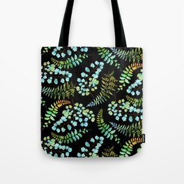 Ferns on black Tote Bag