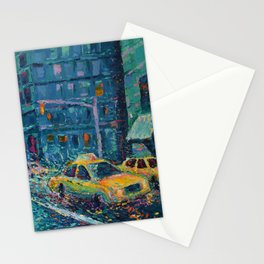 Rainy Day in New York - Palette Knife urban art city landscape by Adriana Dziuba Stationery Cards